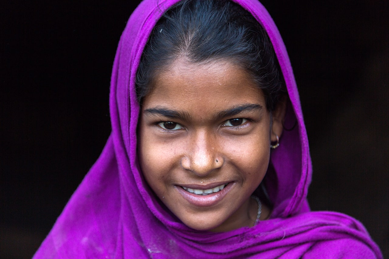 Portrait of a girl with muslim headscarf on the way to Srimangal, Bangladesh.
