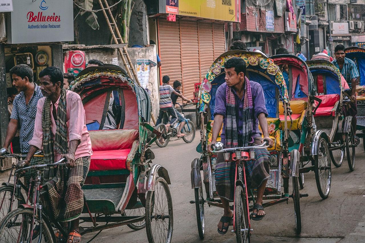 Rickshaw traffic in Dhaka, Bangladesh.