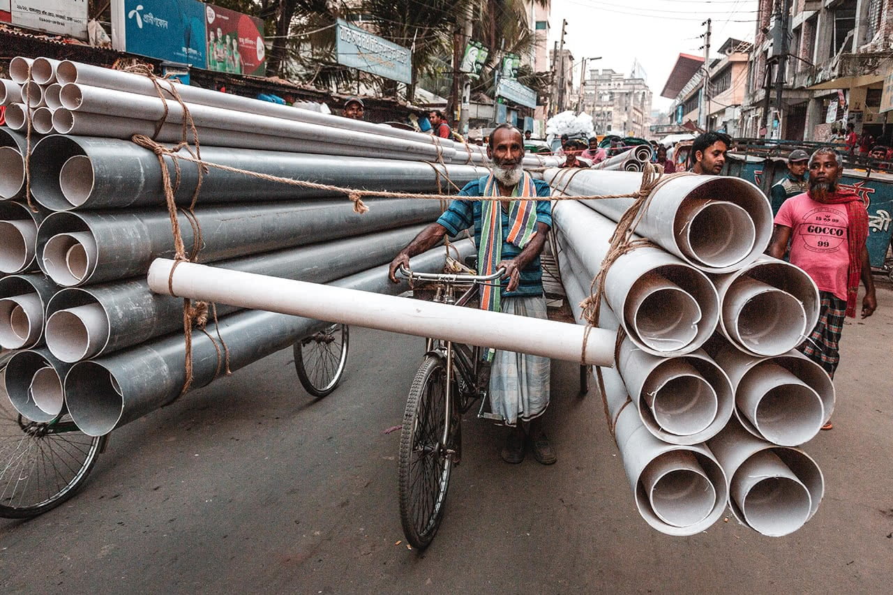 Unusual traffic in Dhaka, Bangladesh.