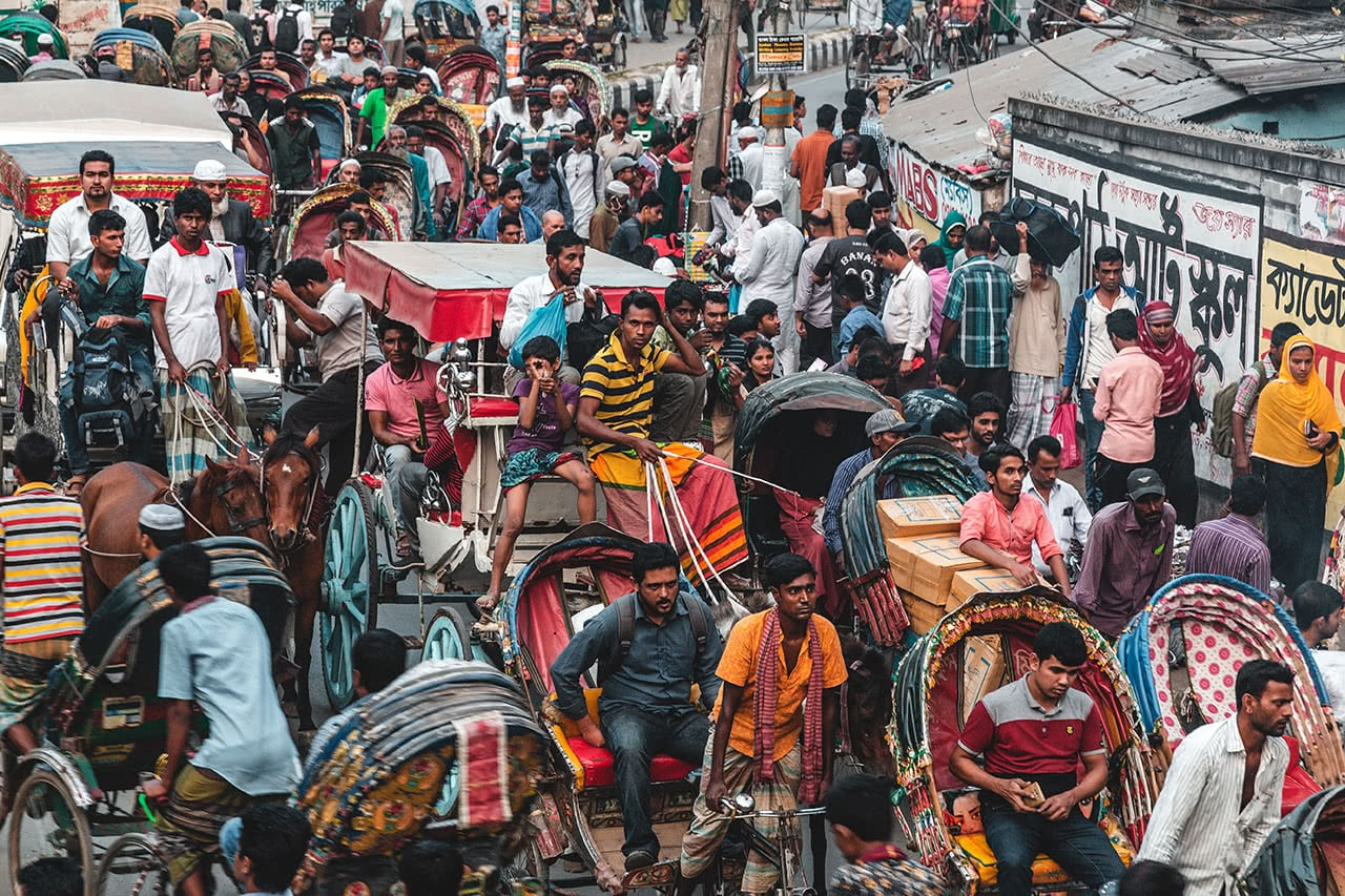 Rickshaws make up the majority of the traffic and chaos in Dhaka, Bangladesh.