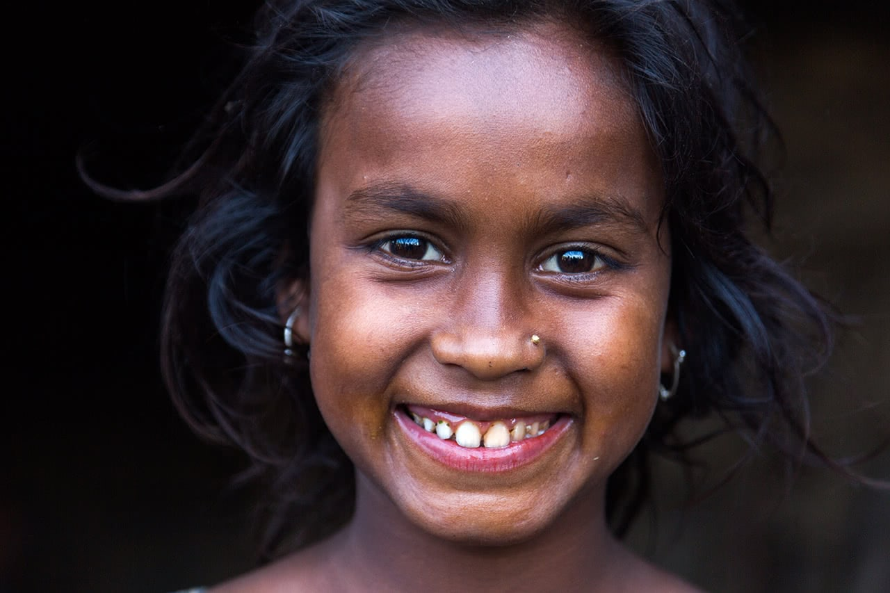 Portrait of a smiling girl on the way to Srimangal, Bangladesh.