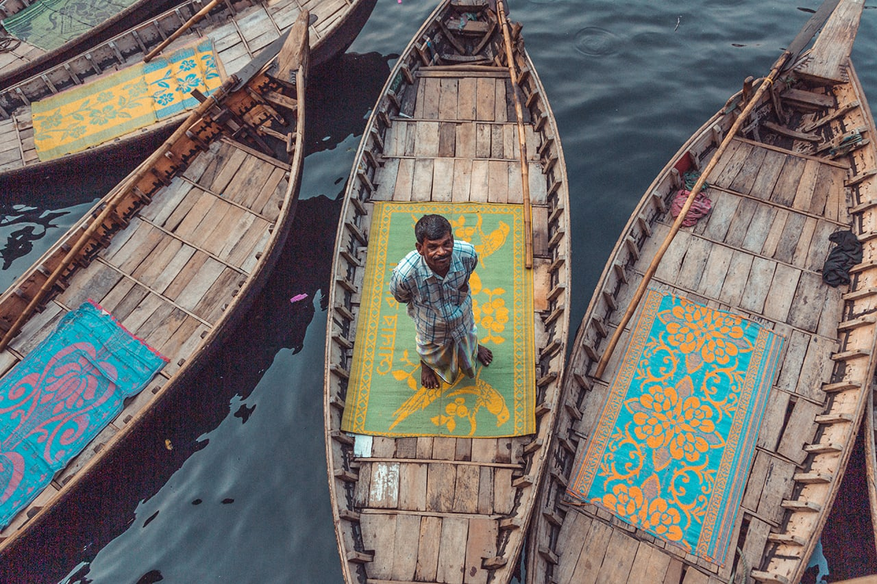 A brief quiet moment at the chaotic Sadarghat Port in Dhaka.