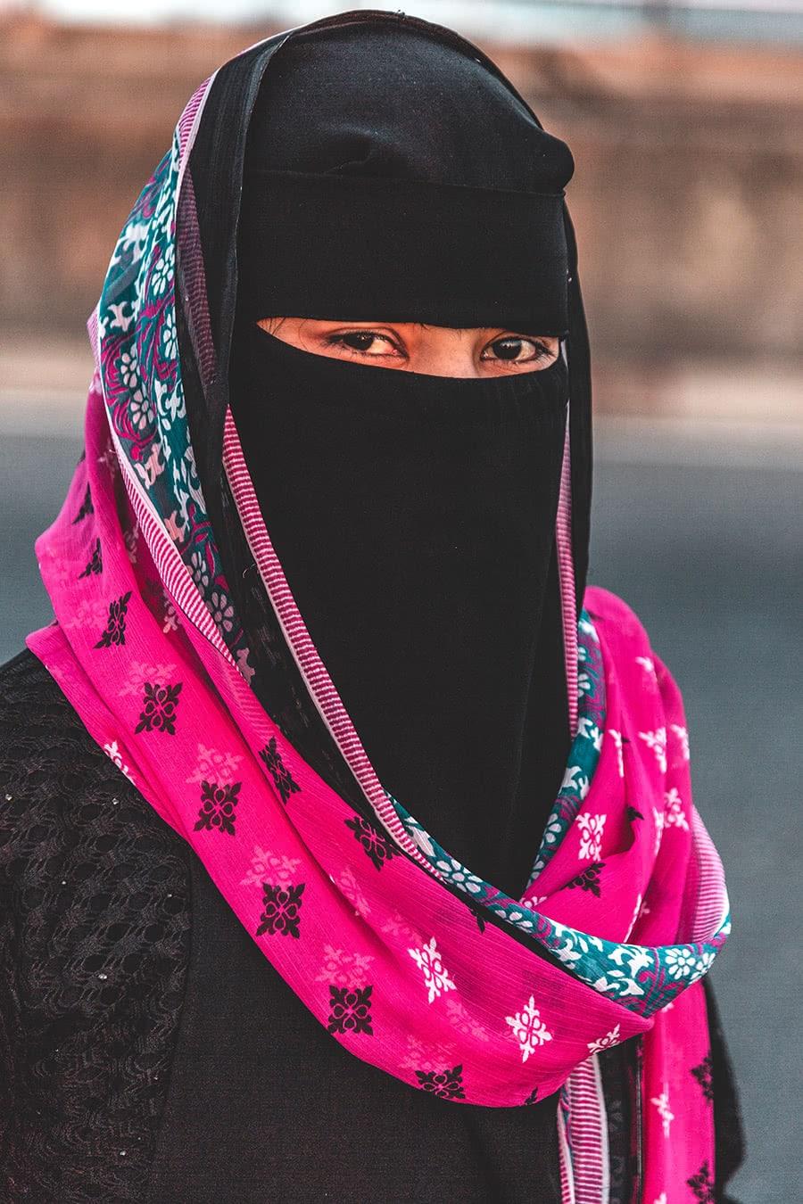 Woman wearing a burka in Chittagong, Bangladesh.