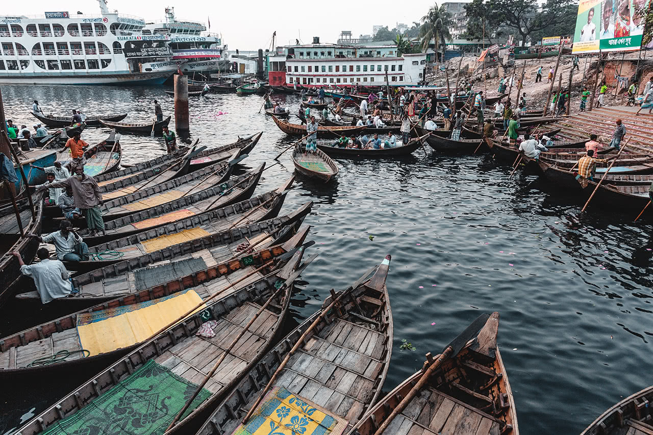 Boat taxis at the chaotic Sadarghat Port in Dhaka.
