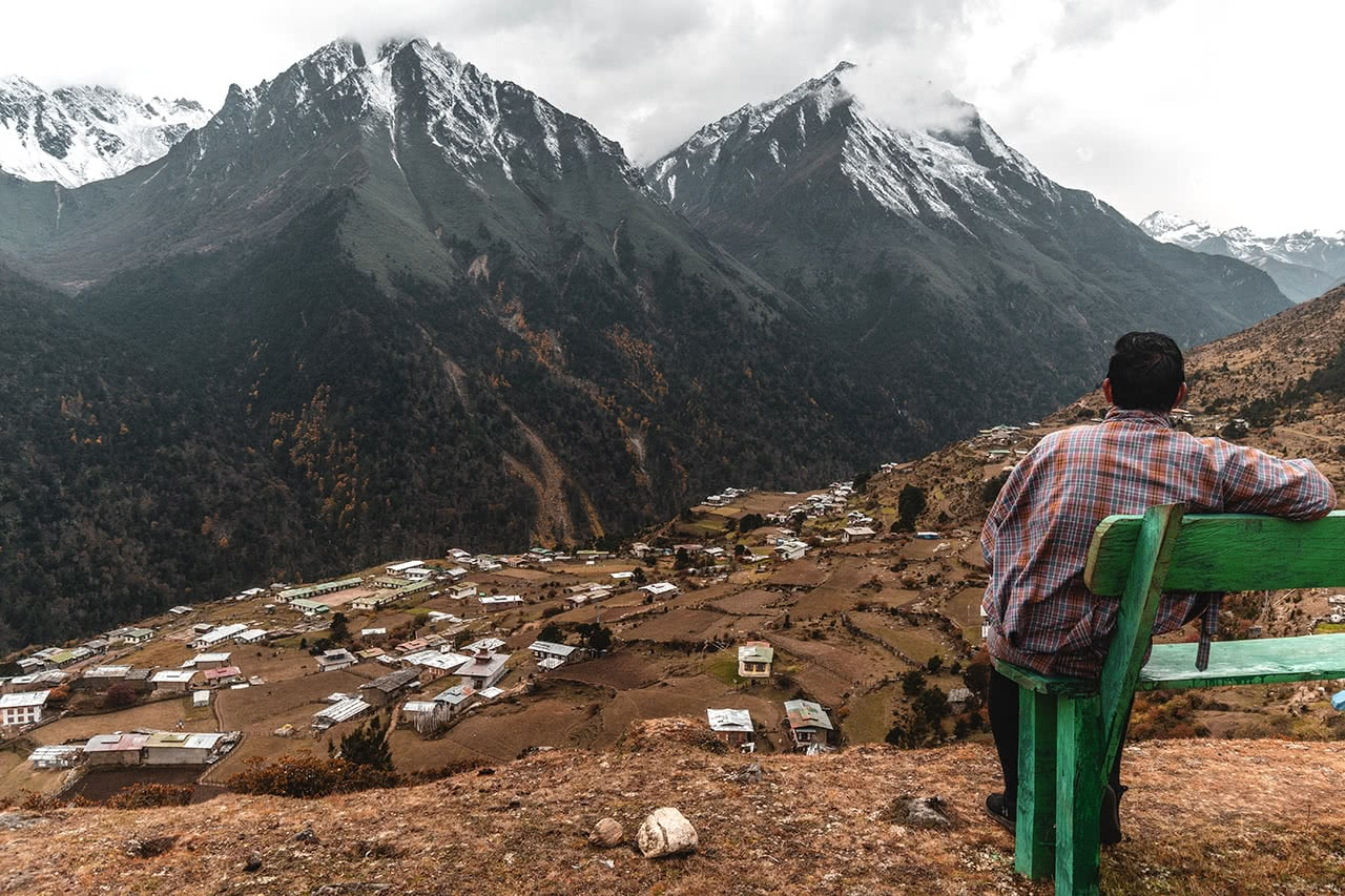 Overlooking the village of Laya, the highest permanent settlement in Bhutan at 3800m.