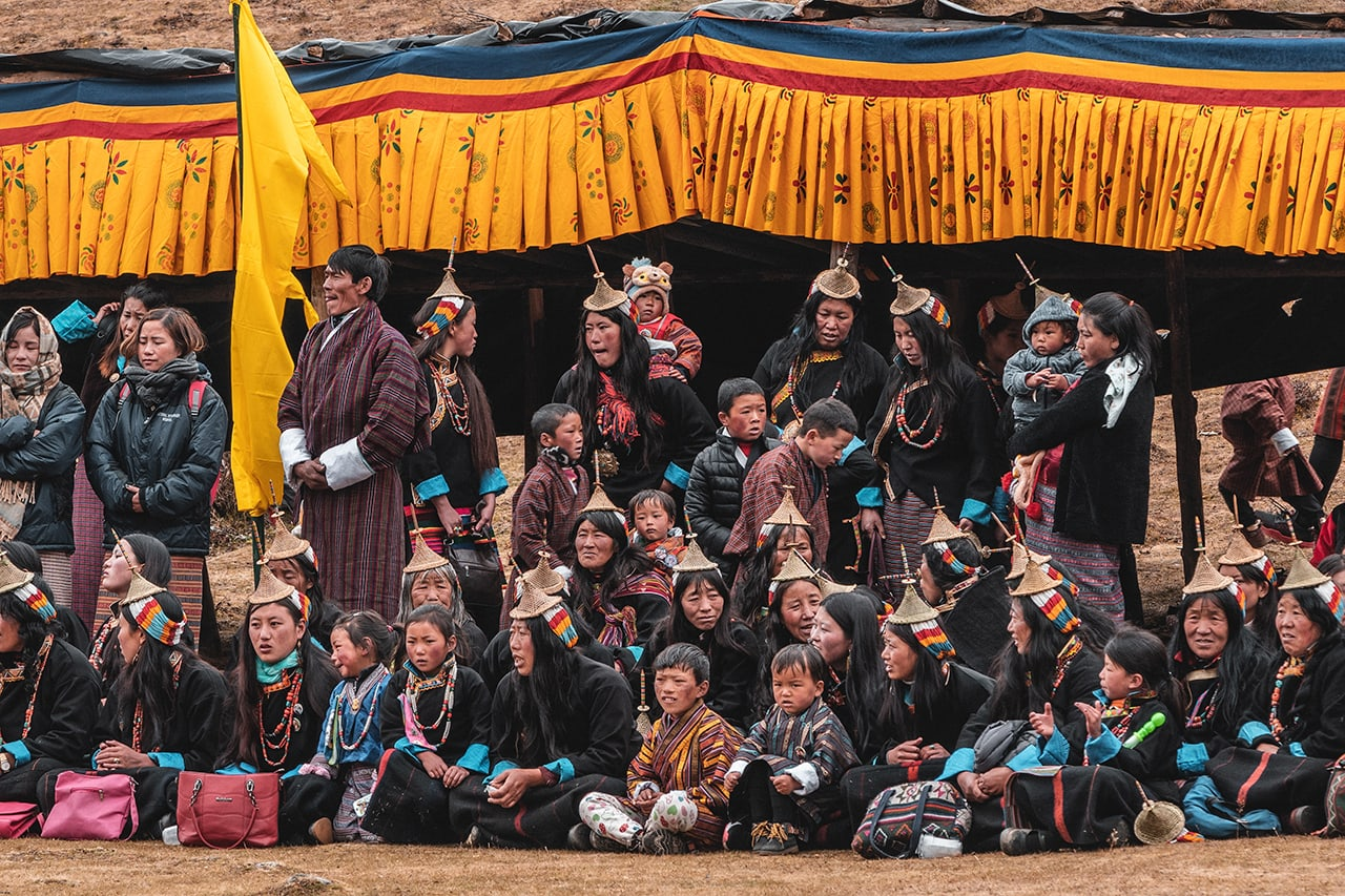Spectators watch performances at the Royal Highlander Festival in Laya village, Bhutan.