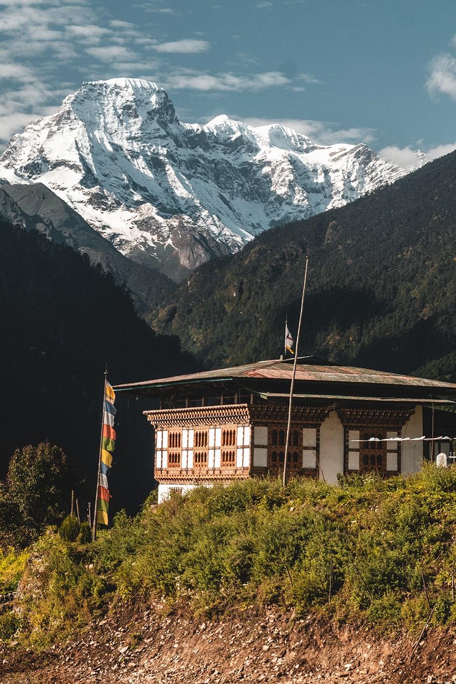 View of Kang Bum mountain (21,320 feet or 6500 meters) from Gasa, Bhutan.