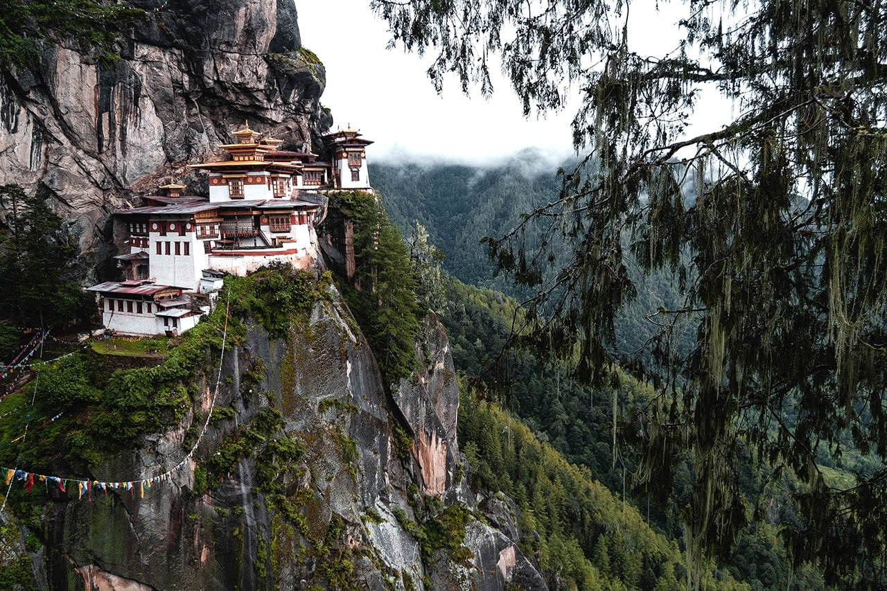 Taktsang monastery, more commonly known as Tiger's Nest is located near Paro in Bhutan.