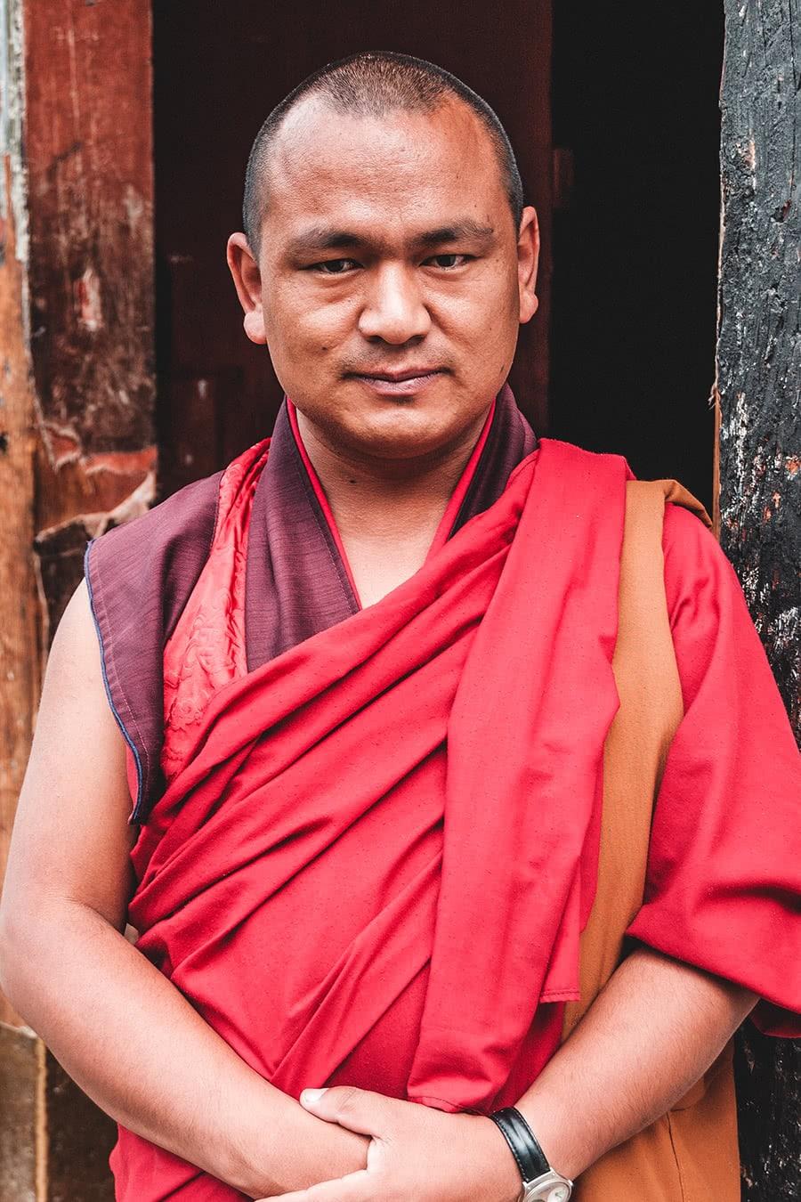 Buddhist monk at his monastery in Thimphu, Bhutan.