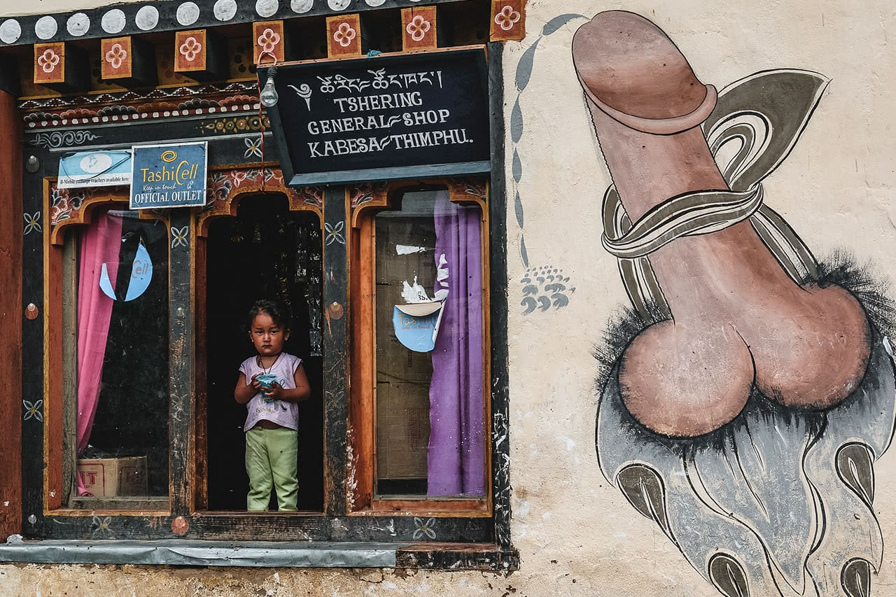 Shophouse decorated with phallus symbols, as a sigh of good luck is common in Bhutan.