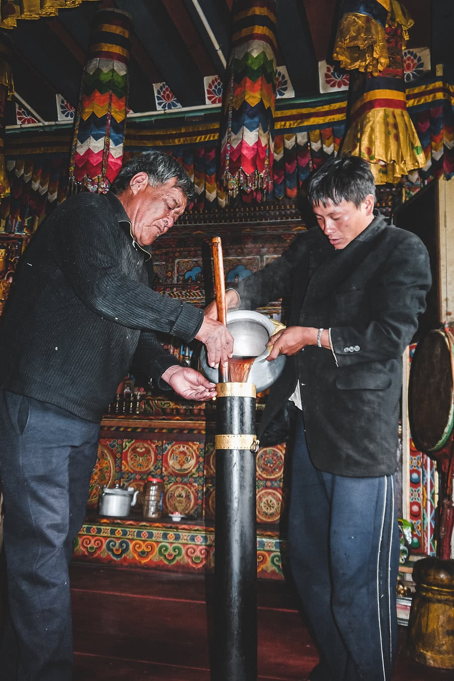 Making butter tea in Gangtey, Bhutan.