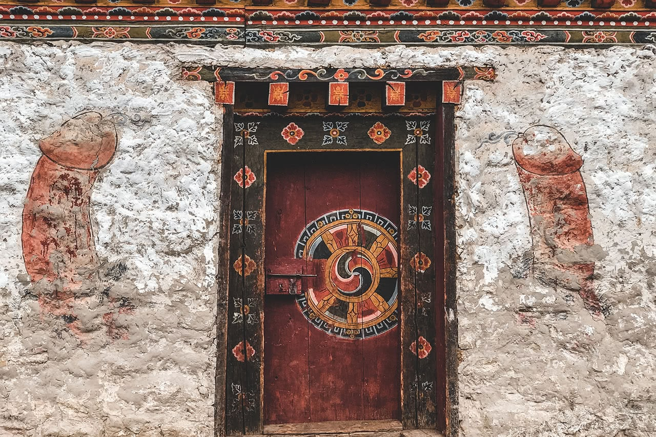 Buildings decorated with phallus symbols, as a sigh of good luck is common in Bhutan.