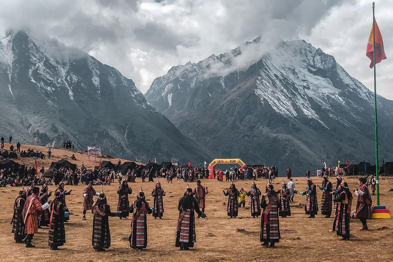 Dancers at the Royal Highlander Festival in Laya, Bhutan.