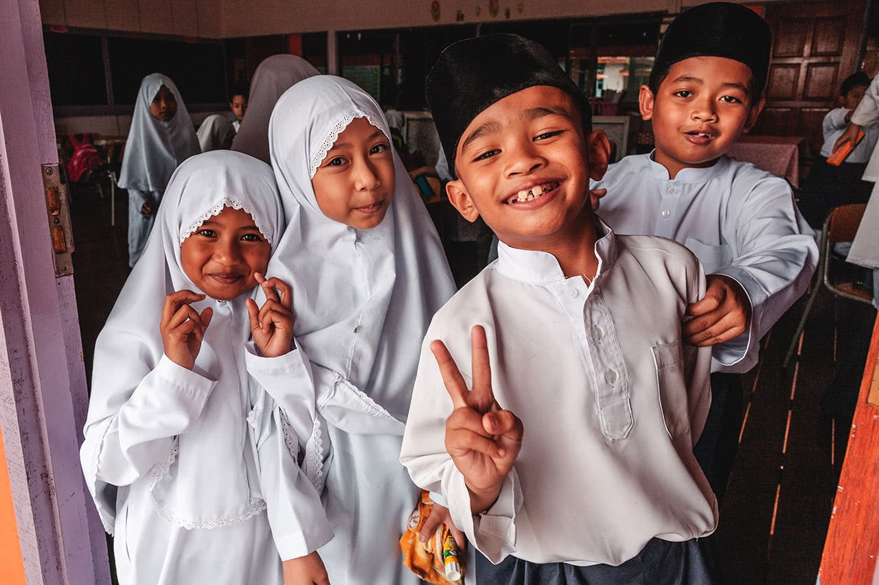 Students in a school at Kampong Ayer Water Village in Bandar Seri Begawan, Brunei.