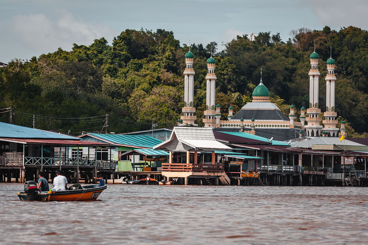 Floating village at Kampong Ayer Water Village, in Bandar Seri Begawan, Brunei.