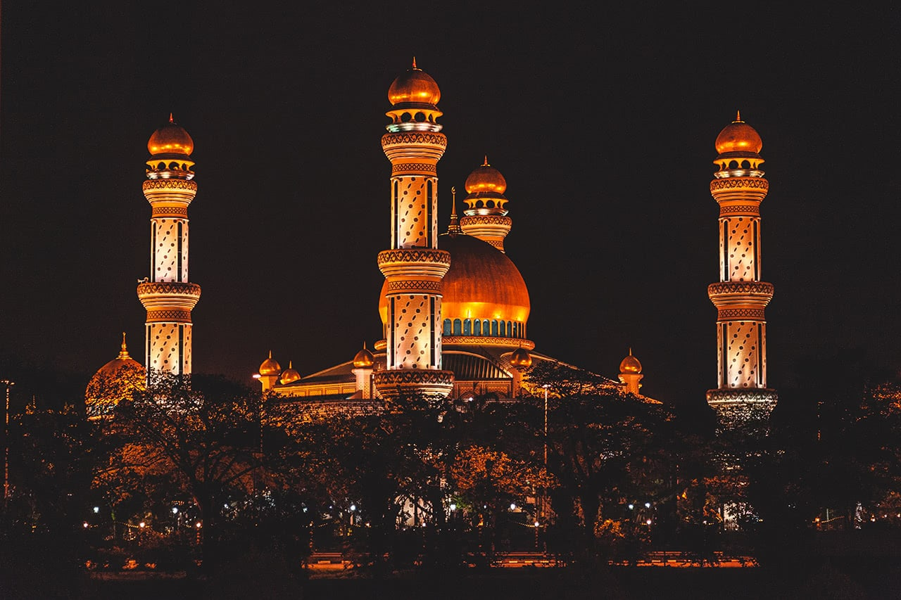 Mosque lit up in the evening in Bandar Seri Begawan, Brunei.