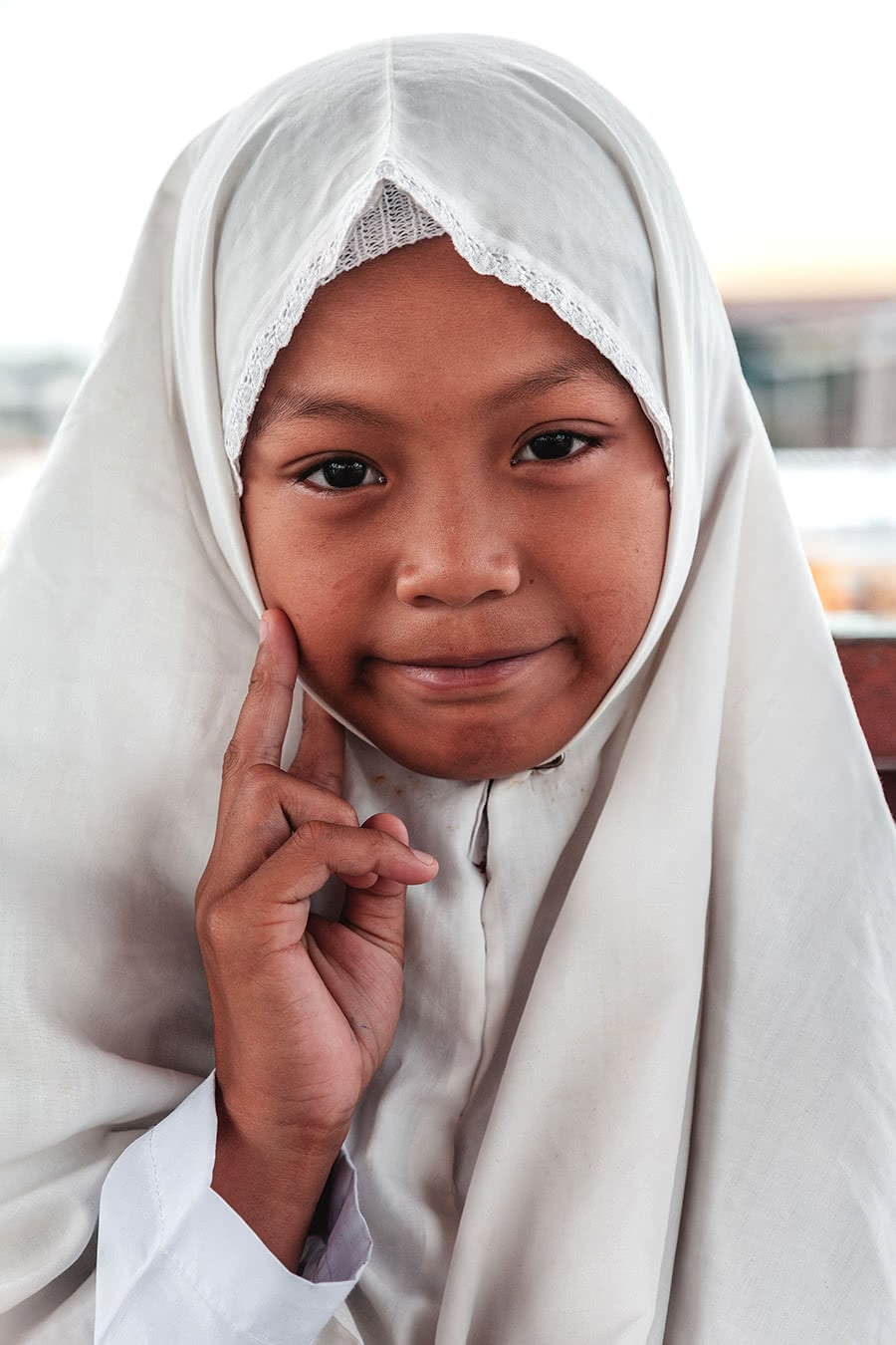 Student in Bandar Seri Begawan, Brunei wearing a muslim headscarf.