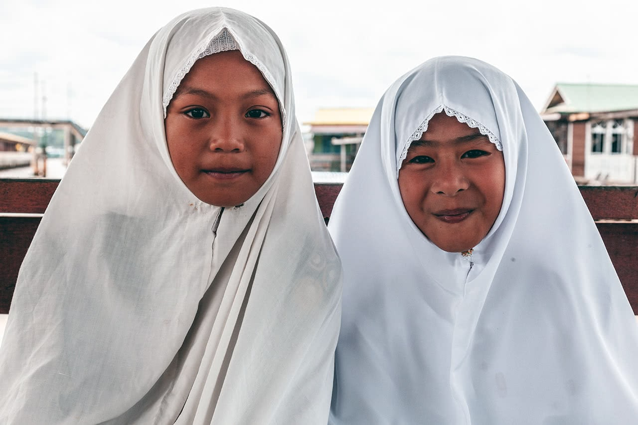 Students in Bandar Seri Begawan, Brunei wearing muslim headscarfs.