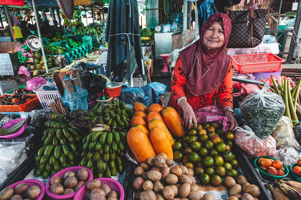 Produce vendor in Bandar Seri Begawan, Brunei.