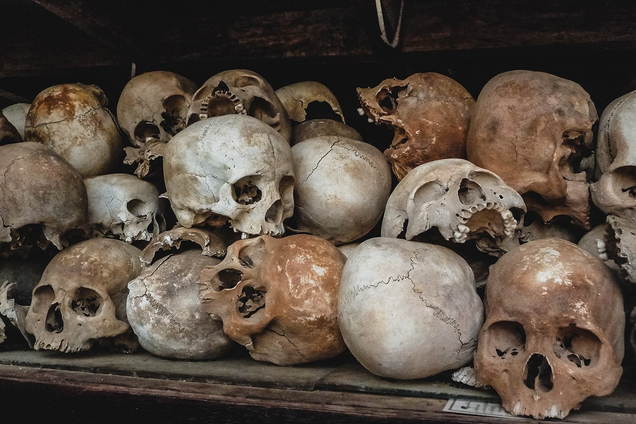 Skulls and bones taken from the mass graves at Choeung Ek, and powerful reminder of the evilness of the Khmer Rouge