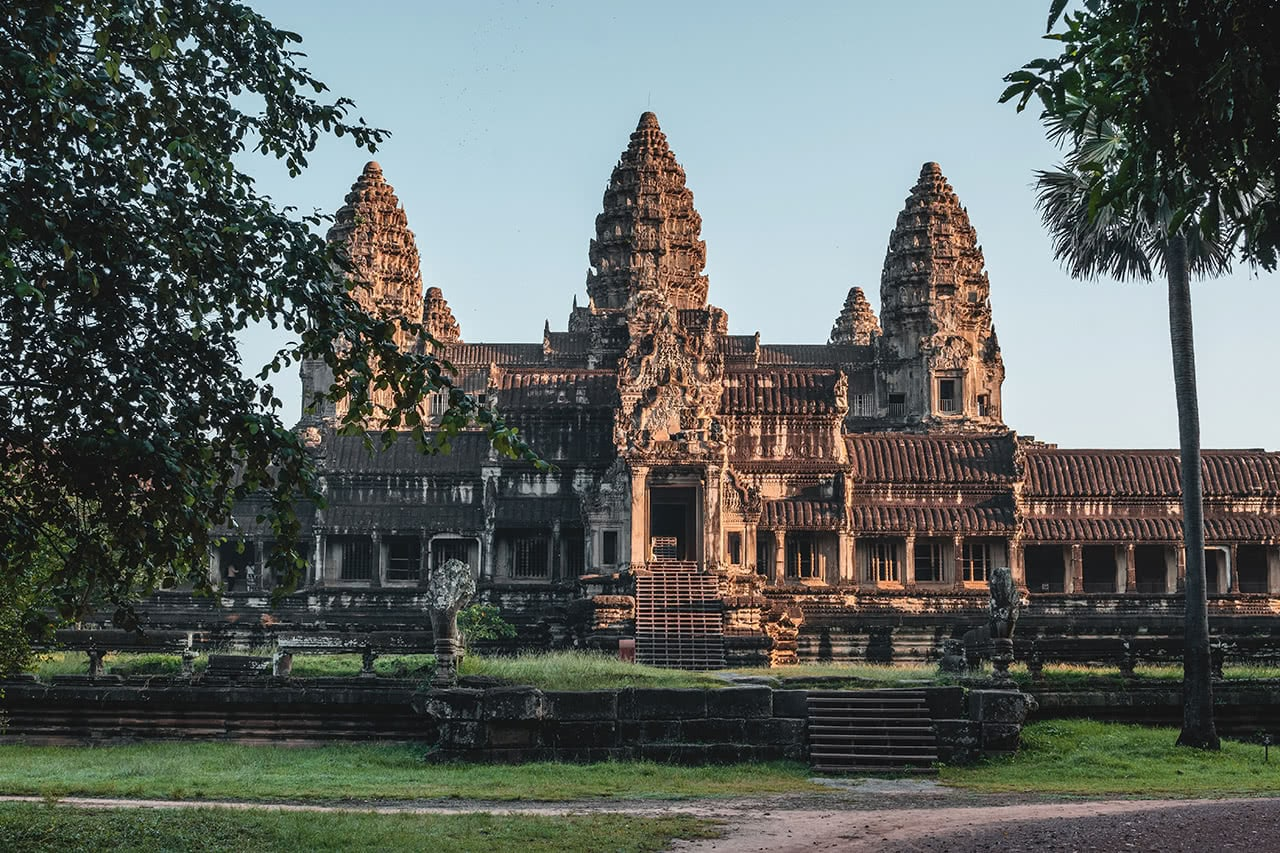 Unusually quiet view of Angkor Wat in Siem Reap, Cambodia.