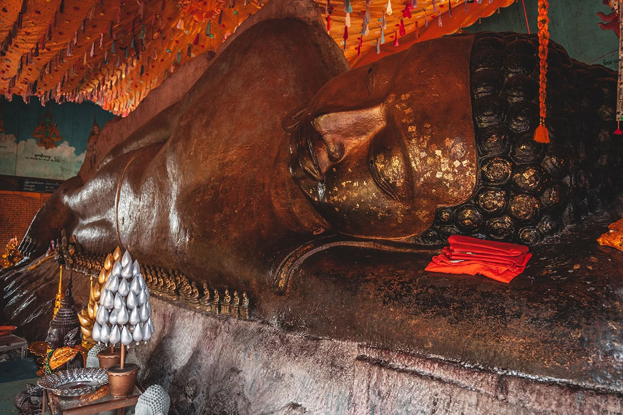 Preah Ang Thom is Cambodia's largest reclining Buddha and is nearly 60 feet long.