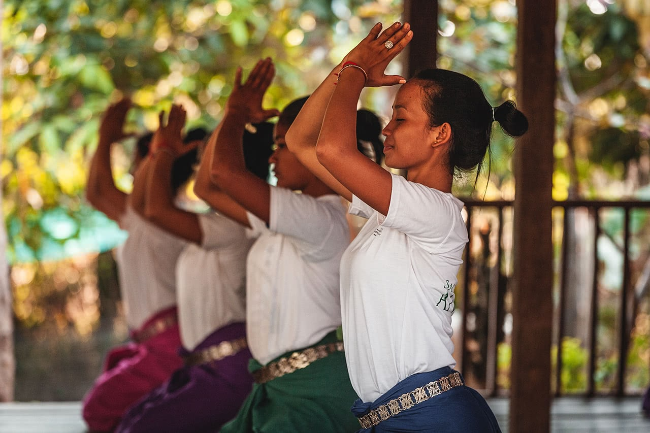 Practice session of the Conservatore of Apsara Dance in Banteay Srei, Cambodia.
