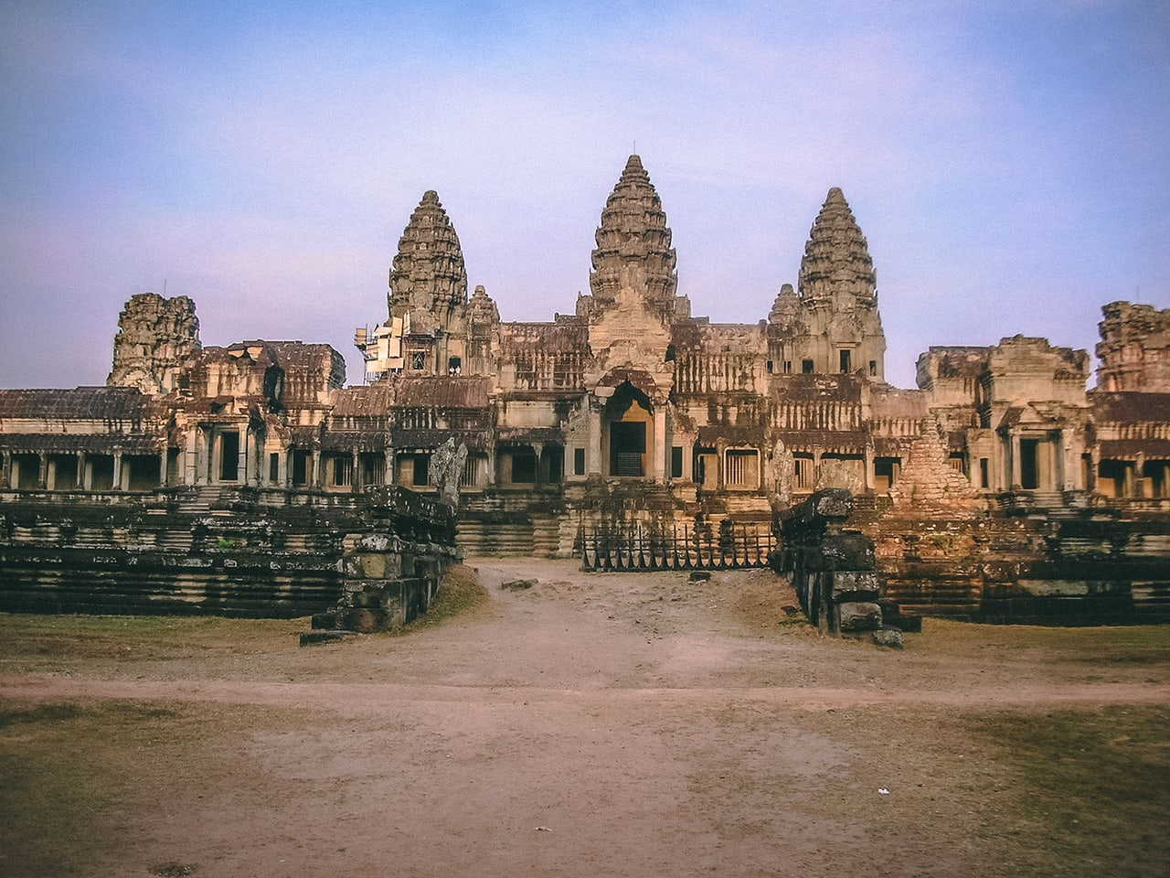 East gate of Angkor Wat, shortly after sunrise.