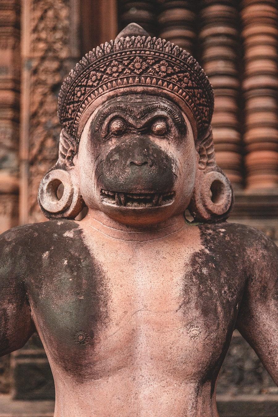 Beautiful 10th century carvings at Banteay Srei, dedicated to the Hindu god Shiva.