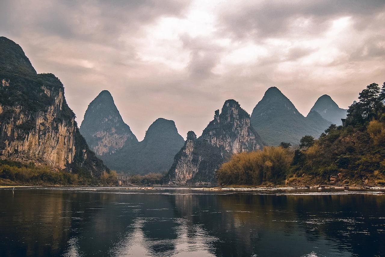 Beautiful karst mountains at Yangshuo, Guilin, China.