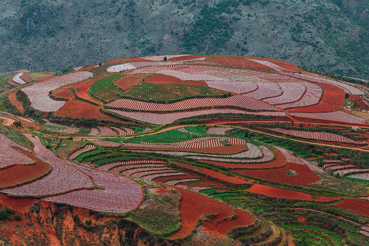 "View of the beautiful ""Red Lands"" of Dongchuan, in Yunnan province of China."