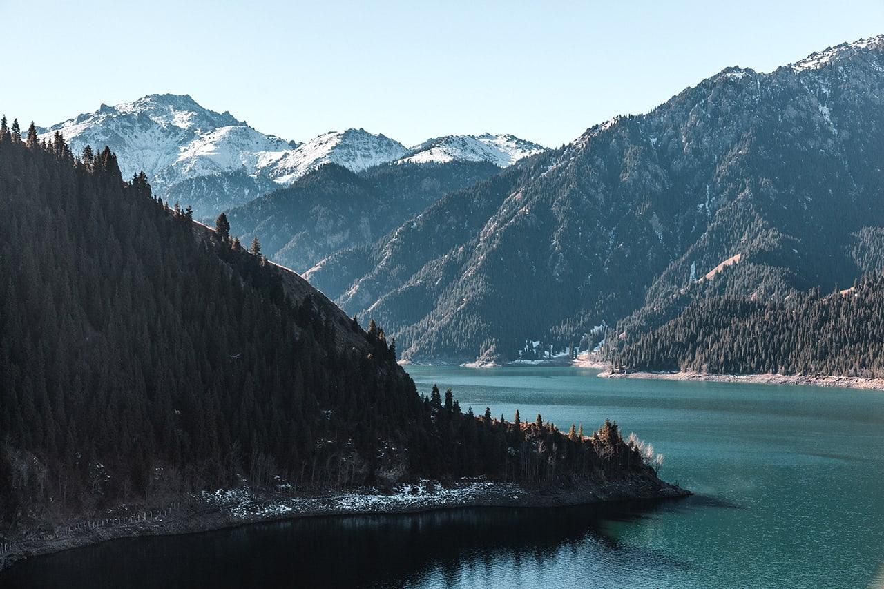 Tianchi Heavenly Lake, 90 minute drive from Urumqi in China's Xinjiang province.