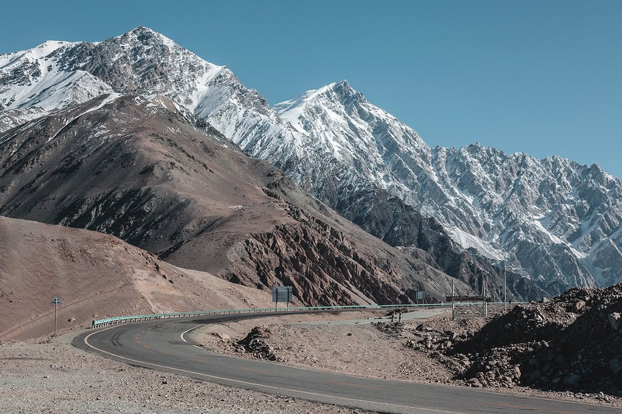 Snow capped mountains along the Karakoram Highway in China's Xinjiang province.