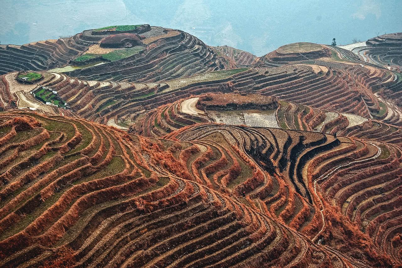 Beautiful rice terraces at Ping-An, Longsheng, China.