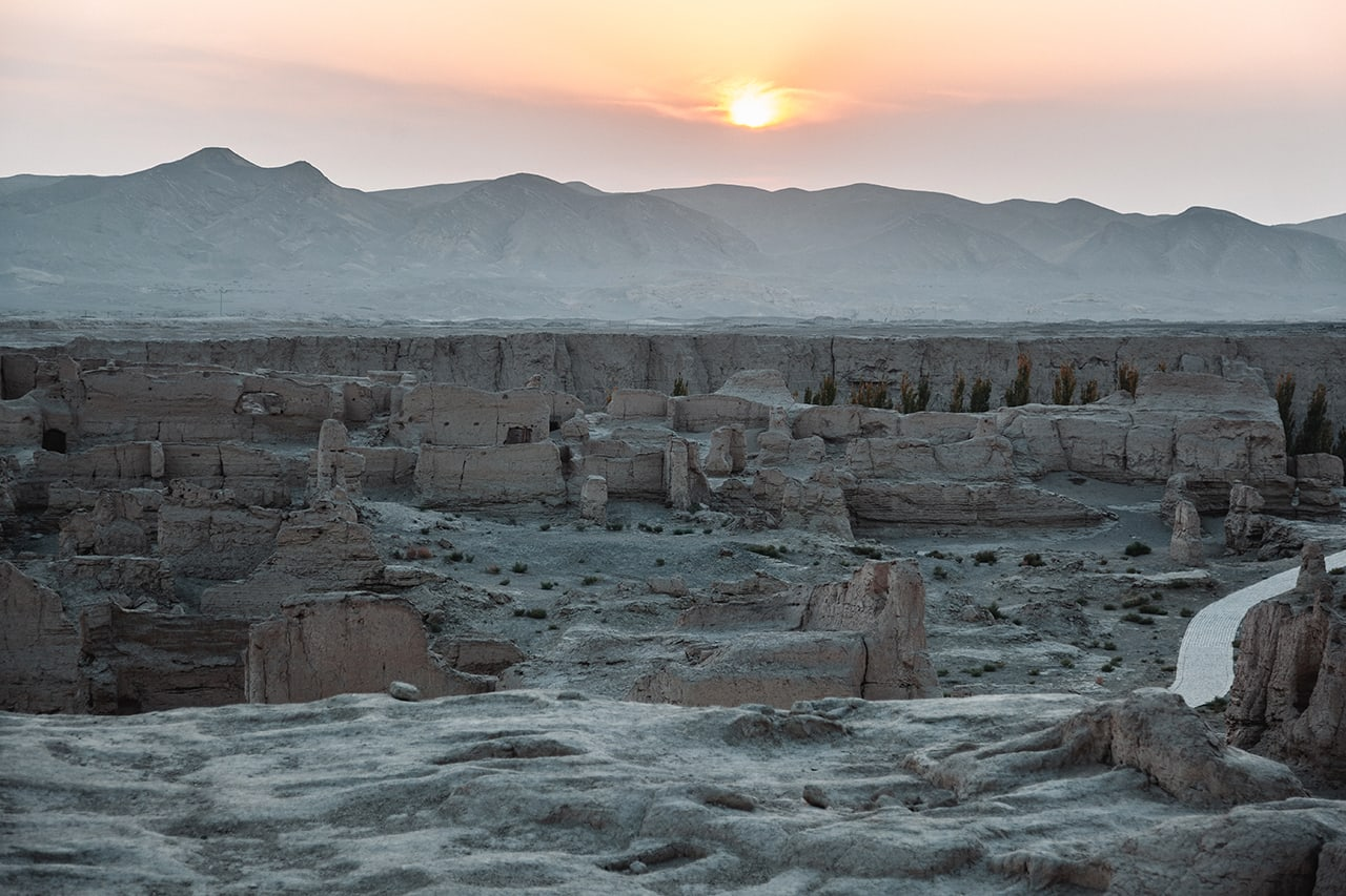 The ruined city of Jiaohe at sunset in Turpan