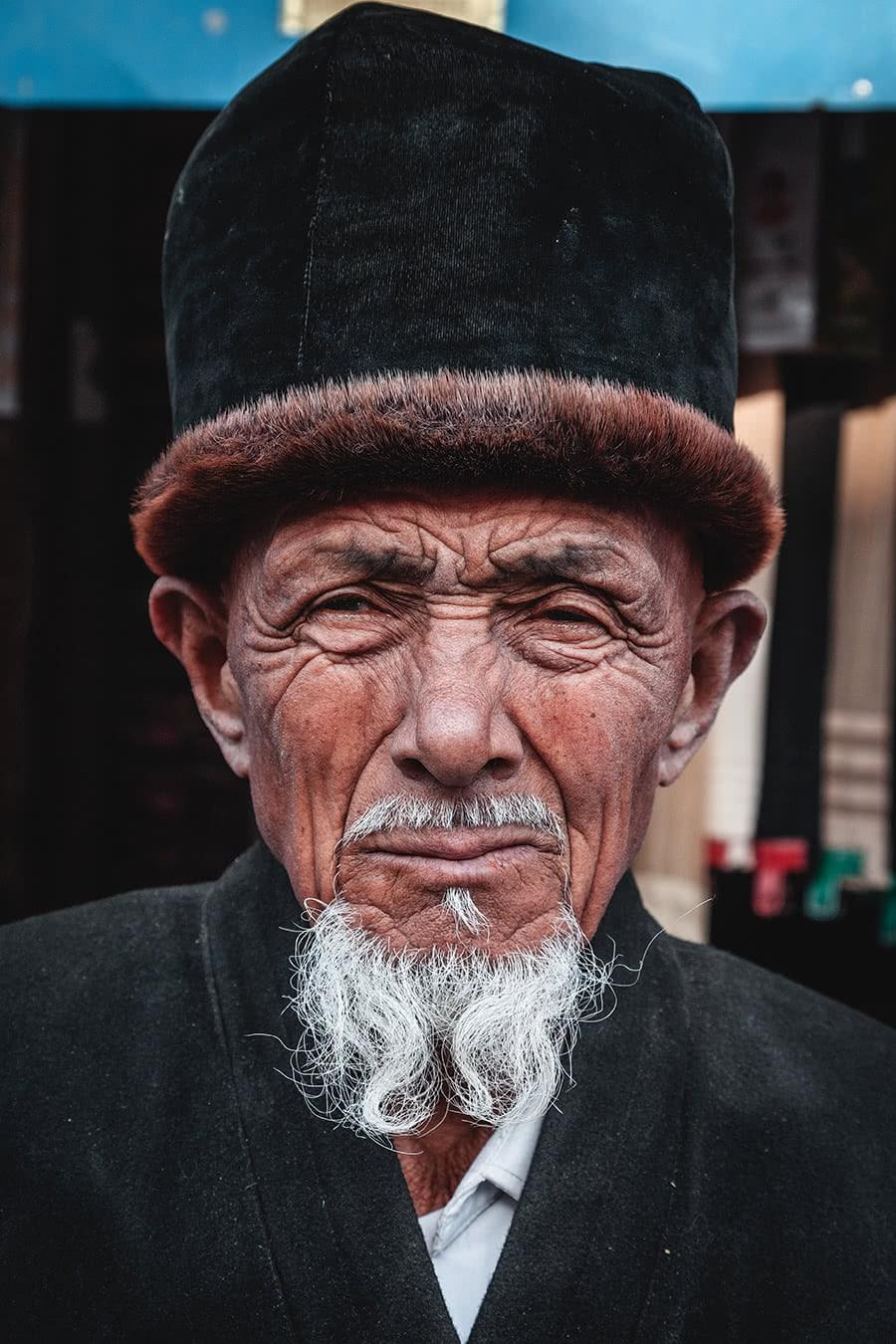 A Uyghur man at the Yekshenba bazaar in Kashgar, China.