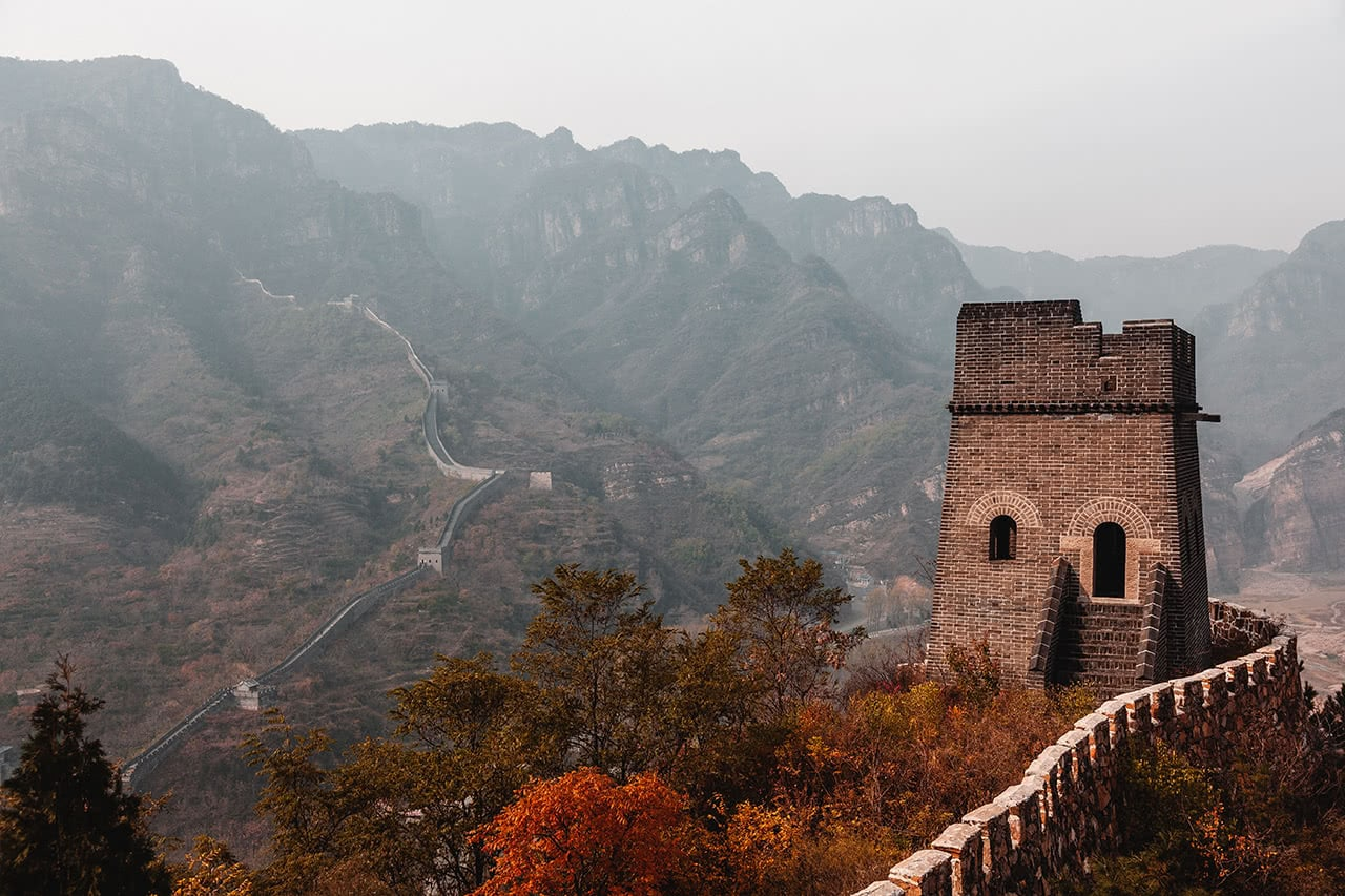 Beautiful section of the Great Wall at Huangyaguan, which sees far fewer tourists than more popular areas.