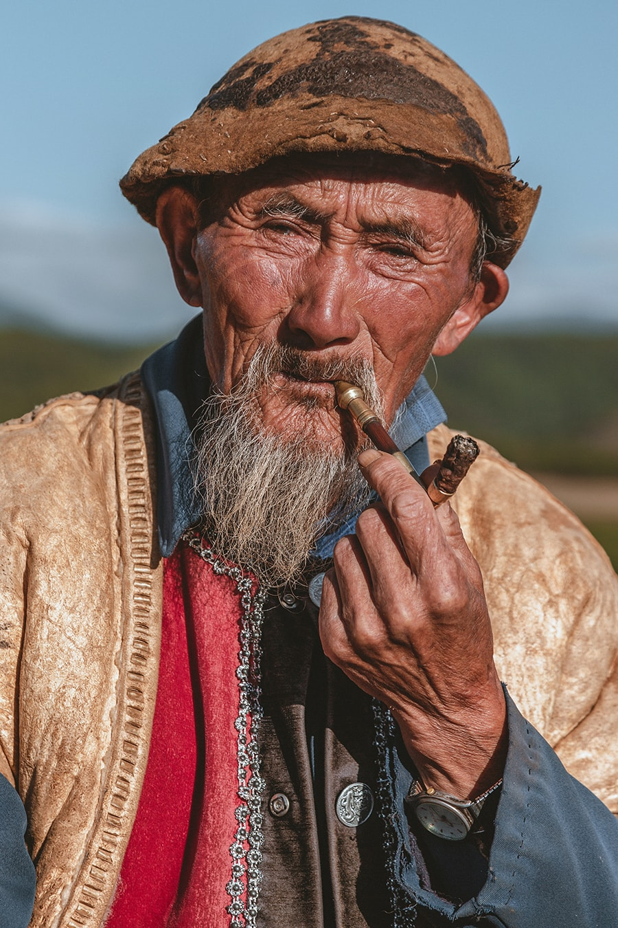 An old man from Dongchuan, in Yunnan province, known for its spectacular Red Lands.