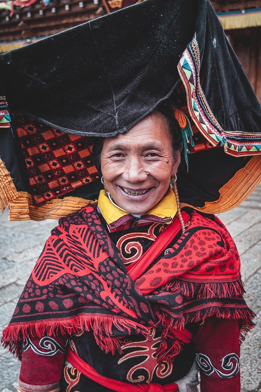 Yi minority woman in Zhongdian, China.