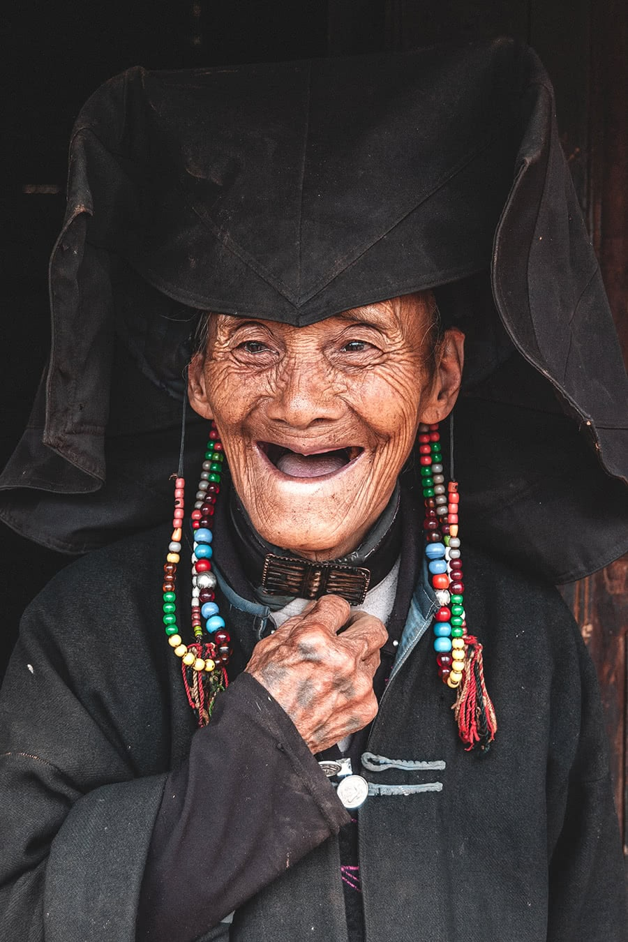 95 year old Yi minority woman in her home outside of Lijiang, China.