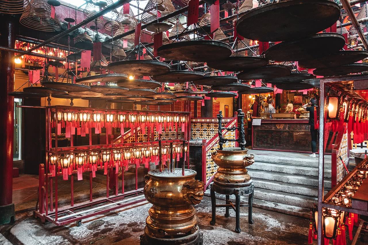 Interior of Man Mo Temple in Hong Kong.
