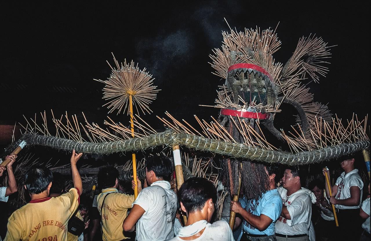 Fire dragon procession in Tai Hang, Hong Kong.
