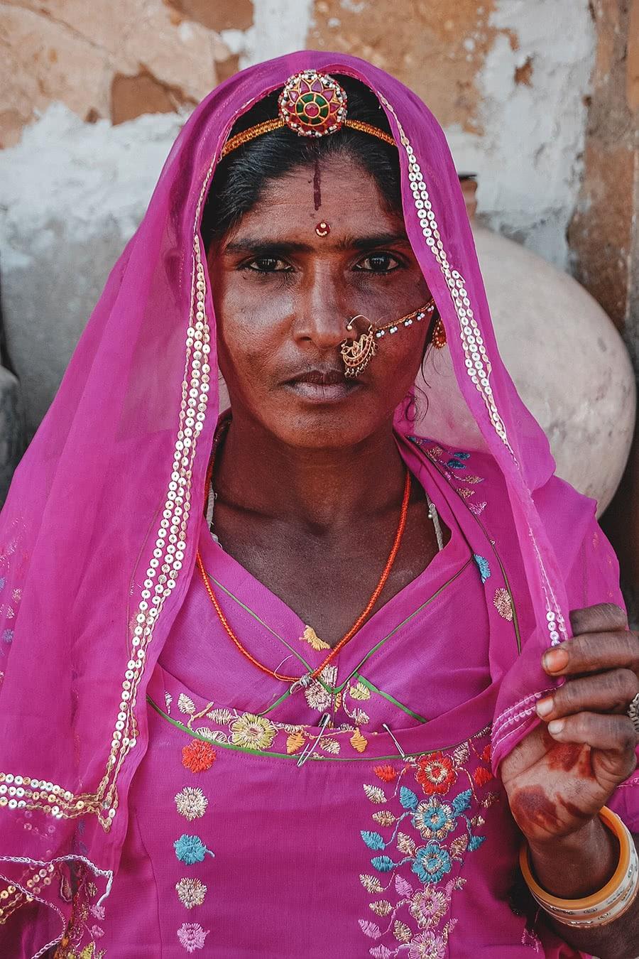 Rajput woman living in the Thar Desert, near Jaisalmer, India.