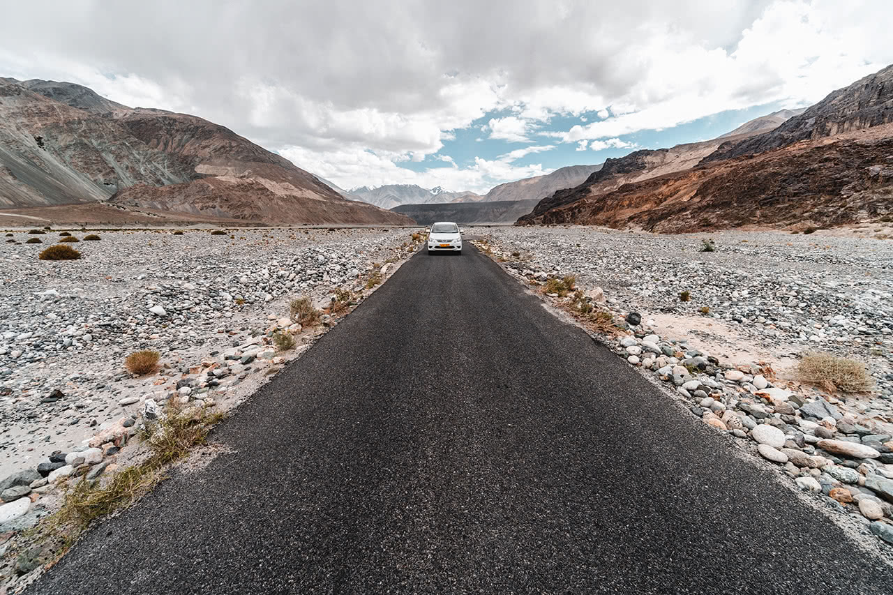 The road leading into the Nubra Valley in Ladakh, India.