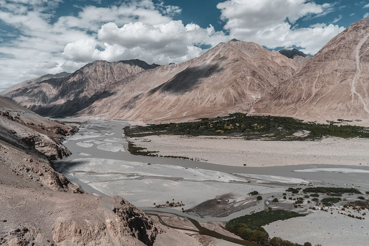 Panorama of the Nubra Valley, India.