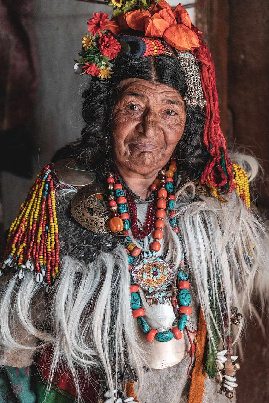 A woman from the Dard Brokpa minority in the Aryan Valley, Ladakh.