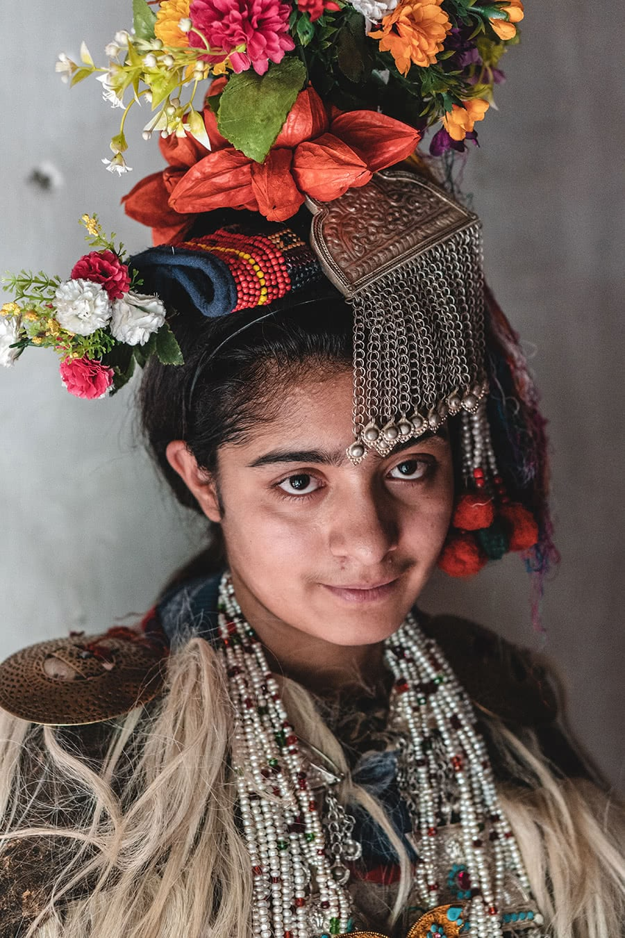 A teenage girl from the Dard Brokpa minority in the Aryan Valley, Ladakh.