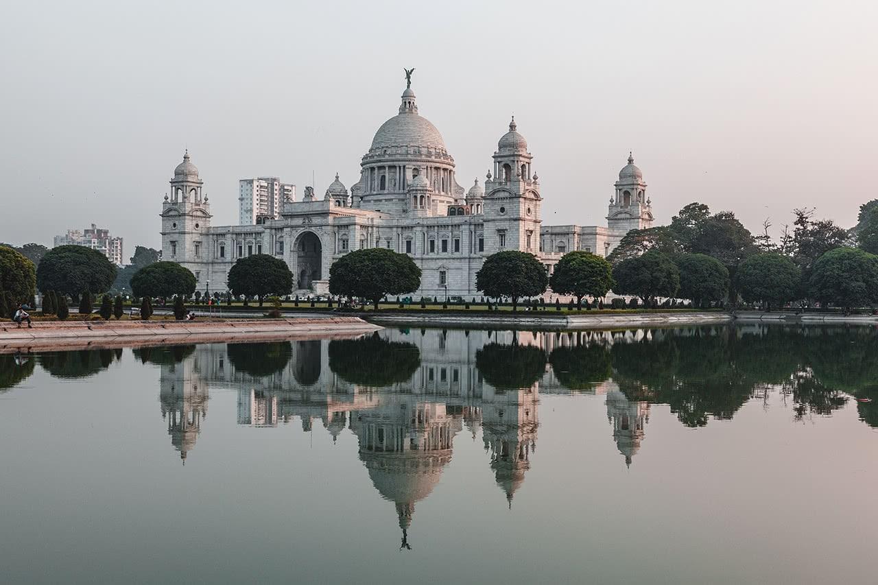 The marble Victoria Memorial in Calcutta, India.