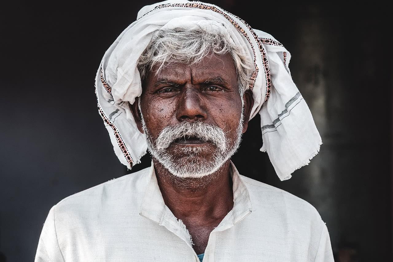 Portrait of an Indian farmer in Sanchi, Madhya Pradesh, India.