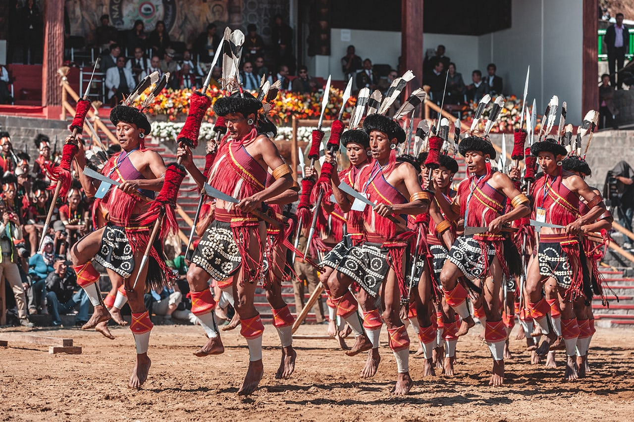 Tribal performers at the Hornbill Festival in Kohima, Nagaland.